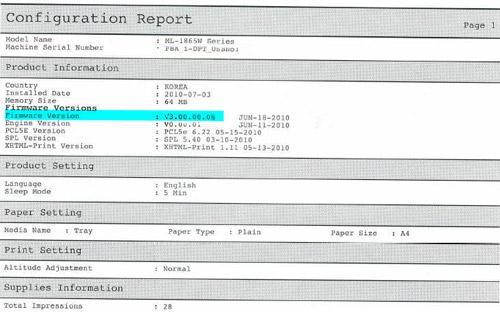 Данная модель принтера позволяет узнать актуальную версию и серийный номер